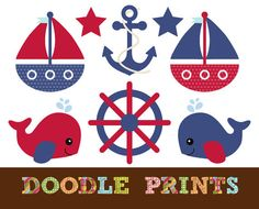 Nautical Sailboat Clipart - Digital Clip Art - Sailboats, Whale, Anchor - Red and Navy Nautical - Personal and Commercial Use