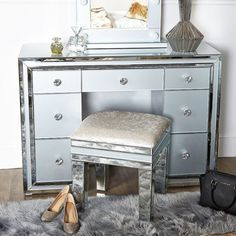 Madison Grey Glass 7 Drawer Mirrored Dressing Table Drawers, 7 Drawer Dressing Table, Dressing Table Mirror, Grey Glass, Mirrored Bedroom Furniture, Glam Bedroom Decor, Grey Storage, Grey Panels, Dressing Mirror