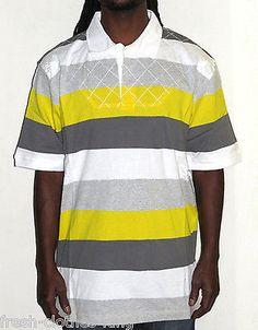 Sean John Rugby Polo Shirt New $68 Mens Dandelion Stripe Original Fit Size Large