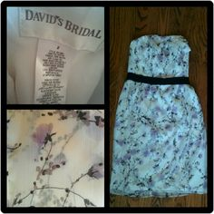 David's bridal strapless white floral dress In perfect condition! Only worn once. Fits true to size. David's Bridal Dresses Strapless