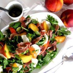 Peach, proscuitto, mozerrello salad