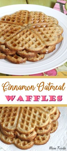Easy recipe for Cinnamon Oatmeal Waffles. Great heart-smart breakfast for both kids and adults. Make your oatmeal into tasty and fun waffles! Oatmeal Waffles, Cinnamon Oatmeal, Breakfast Waffles, Breakfast Dishes, Breakfast Recipes, Dessert Recipes, Desserts, Cinnamon Toast Waffles Recipe, Fast Healthy Breakfast