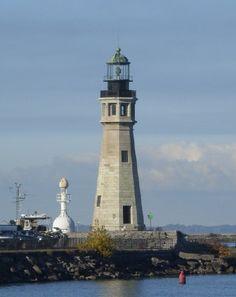 Buffalo Main Light, Buffalo Harbor, Buffalo,New York with the former North Breakwater Light at left