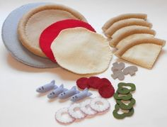 Felt Food PDF Pattern DIY - Pizzeria Fun (Pizza, Slices, Pan, Chicken Wings, Breadsticks and Pizza Toppings). $5.99, via Etsy.