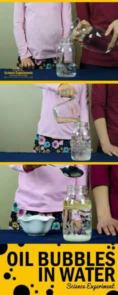 Make Oil Bubbles in Water with this simple science experiments using 3 common items you probably already have in your kitchen. - Kids education and learning acts Oil And Water Experiment, Water Experiments For Kids, Kindergarten Science Experiments, Easy Science Experiments, Science Fair Projects, Preschool Science, Science For Kids, Science Fun, Science Ideas