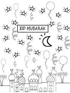 Coloring Pages: Eid mubarak coloring pages Carte Eid Mubarak, Eid Mubarak Card, Happy Eid Mubarak, Eid Crafts, Ramadan Crafts, Ramadan Activities, Activities For Kids, Aid Moubarak Said, Eid Card Template