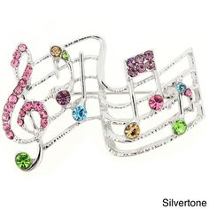 This brooch shows your love of music with its musical notes and staff. Fashioned with round Swarovski stones, this brooch is a charming way to accent your ensemble.