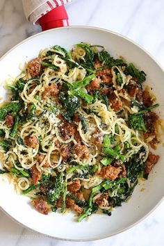Broccoli rabe and spicy sausage made with parsnips in place of pasta for a hefty serving of veggies won't disappoint! Noodle Recipes, Pasta Recipes, Cooking Recipes, Healthy Recipes, Cooking Ideas, Veggie Recipes, Spiral Vegetable Recipes, Keto Recipes, Healthy Dishes