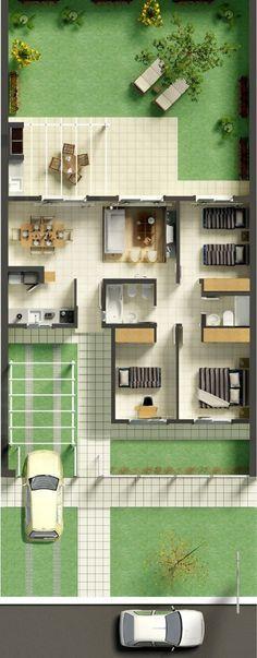Constru o de casa t rrea com 240 m de ac sendo 3 for Casa clasica techo inclinado procrear