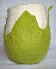 Leaves decorating a vase in handmade Merino wool felt. Textile Products, Wool Felt, Merino Wool, Bean Bag Chair, Textiles, Leaves, Decorating, Future, Chic