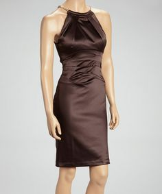 Another great find on #zulily! Brown Pleated Ruched Yoke Sheath Dress by Jessica Howard #zulilyfinds