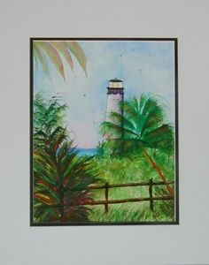 Lighthouse on Key Biscayne Florida, Original Watercolor, 11 x 15 Ann Shaw, Landscape,