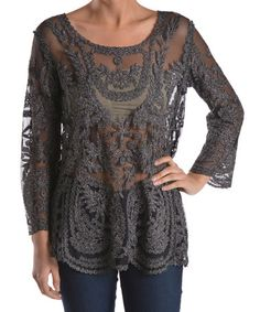 Love this Black Lace Crochet Tunic by Geshem on #zulily! #zulilyfinds