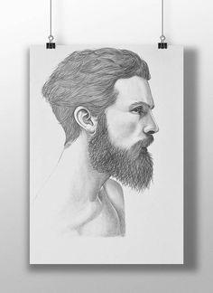 Dessin d'un portrait masculin au crayon. Format A3
