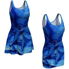 Blue Dress Flared Bodycon Printed Mini Dress Teen Dress Summer Dress... ($65) ❤ liked on Polyvore featuring dresses, short flare dress, skater skirt, rose print dress, summer day dresses and short blue dresses