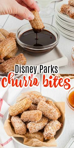 Disney Parks Churro Bites Recipe – Shugary Sweets You don't have to travel to Disney Parks to enjoy delicious churros. Kids and adults alike love these cinnamon sugar treats dipped in chocolate! Easy No Bake Desserts, Delicious Desserts, Dessert Recipes, Yummy Food, Mini Desserts, Sweet Desserts, Dessert Ideas, Churro Bites, Shugary Sweets