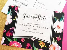 Save the Date Postcards, Watercolor Floral Save the Date Postcards, Shimmer Card Stock, Set of 25