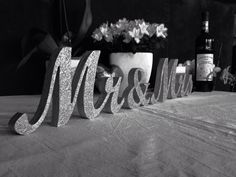 Glitter Mr. & Mrs. letters wedding table decoration, freestanding Mr and Mrs signs for sweetheart table on Etsy, $43.00