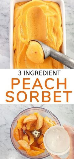 The Best Peach Sorbet Without Ice Cream Maker · Chef Not Required. This easy peach sorbet recipe is a simple 3 ingredient peach sorbet that tastes like summer in a bowl, with no need for an ice cream maker or to make a sugar syrup! It's also dairy free! Best Frozen Meals, Homemade Ice, Homemade Sorbet, Homemade Frozen Yogurt, Homemade Sweets, Homemade Snickers, Frozen Desserts, Easter Desserts, Gastronomia