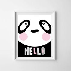 Baby Panda in T-Shirt Nursery Decor Baby Gifts Baby Wall Art Kids Prints Wall Art Monochrome Illustration Lil' Mate by LilMateStudio on Etsy