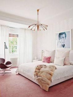 wall-to-wall blush carpet.