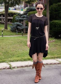 #OOTD black trapeze chiffon dress, studded belt, slouchy boots, and zebra necklace.