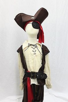 Boutique Pirate Scoundrel Captain Costume Halloween Pants Top Hat Patch Boot NEW