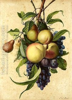 Still Life With Peaches, Pears, Plums And Grapes by Jean-Louis Prevost