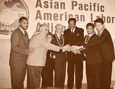 At its annual convention at the Los Angeles Hilton and Towers in 1993, APALA honored four pioneers in the crusade for Asian American civil rights. (L-R) Jesse Jackson Jr., David Trask, Jr., a noted Hawaiian labor leader, Yuri Kochiyama, a peace and community activist from New York who died in 2014, Fred Korematsu, the civil rights proponent who called upon the U.S. Supreme Court to rule on the internment of Japanese Americans during World War II who died in 2005; Jesse Jackson; Frank Atonio…