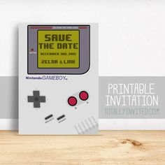 save the date - Gameboy Nintendo video game Invitation / printable invitation / Arcade / geek invitation / wedding invitation game boy gamer - Today Pin Video Game Wedding, Wedding Games, Wedding Ideas, Budget Wedding, Geek Wedding Invitations, Printable Invitations, Bar Mitzvah Party, Game Themes, Save The Date