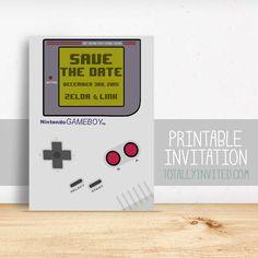 save the date - Gameboy Nintendo video game Invitation / printable invitation / Arcade / geek invitation / wedding invitation game boy gamer