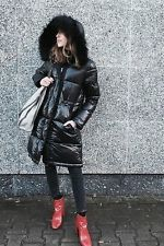 NEW ZARA SHINY BLACK LONG PUFFER DOWN QUILTED JACKET WITH HOOD REF.6719/240 AW16