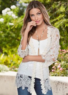The final touch to a beautiful spring look. Venus floral lace jacket with Venus seamless cami and Venus beaded necklace with tassel. Trendy Fashion, Spring Fashion, Fashion Outfits, Womens Fashion, Venus Clothing, Chic Clothing, Twin Outfits, Casual Outfits, Crochet Lace Dress