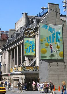 "Theatre marquee for ""In My Life"", a musical love story about a musician with obsessive compulsive disorder and a journalist with Tourette's Syndrome. The show played 68 performances on Broadway at the Music Box Theatre, closing on December 11th, 2005."