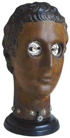 A rare c. 1890 classical head antique ophthalmophantome that was made by Josef Leiter (1830-1892), Vienna, Austria