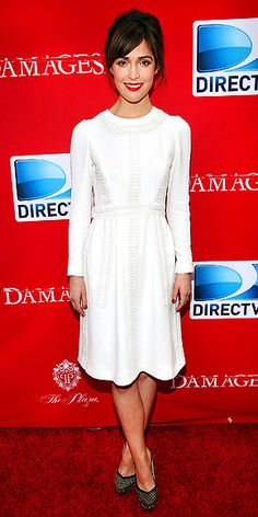 Rose Byrne in Valentino white satin dress. Great reception dress