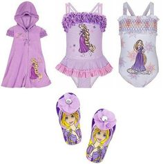 67e75f06ec Disney Store Tangled Princess Rapunzel Swimwear/Swimsuit Gift Set with 2  Bathing/Swim Suits and Hooded Cover Up Hoodie Dress for Youth Girls Size  Small plus ...