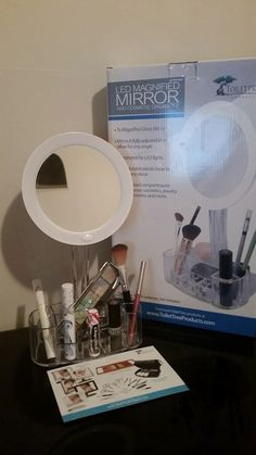 """""""Assembly of the mirror is really easy. You just have to snap the led mirror into the cosmetic base. The LED mirror requires 3 AAA batteries."""" Mom Knows It All: Review of ToiletTree LED 7x Magnified Makeup Mirror with Cosmetic Organizer Base."""