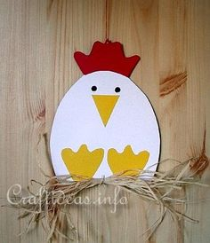 Kinderbasteln - Handicrafts for Easter - Henne Fensterb . Kinderbasteln – Handicrafts for Easter – Hen Fensterbild Daycare Crafts, Easter Crafts For Kids, Toddler Crafts, Monkey Crafts, Farm Animal Crafts, Chicken Crafts, Hen Chicken, Farm Art, Easter Art