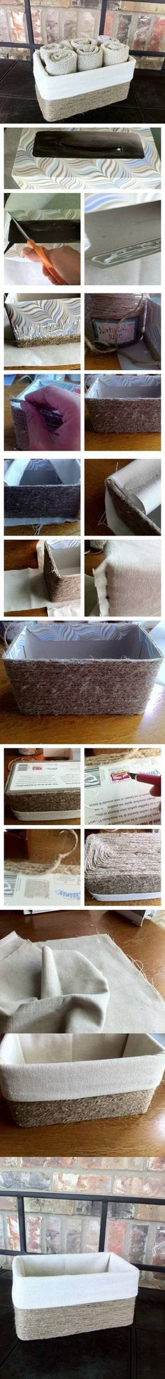 DIY Jute Basket from Cardboard Box DIY Jute Basket from Cardboard Box by diyforever Home Crafts, Fun Crafts, Diy And Crafts, Cardboard Box Diy, Ideias Diy, Diy Storage, Decorative Storage, Storage Boxes, Clothes Storage