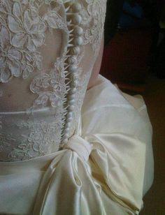 Lace detail wedding dress back.