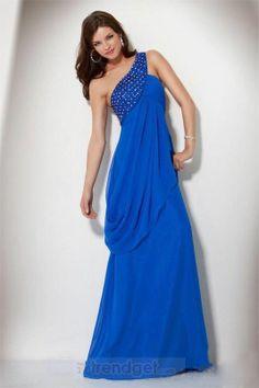 Vintage A-line One Shoulder Floor-length Chiffon Beading Blue Evening Dresses