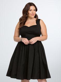 Simple black vintage 1950s style plus size dress: Poplin Sundress $64.50 AT vintagedancer.com
