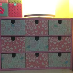 Chest of drawers from IKEA covered with pretty patterned paper. Ikea Drawers, Chest Of Drawers, Scrapbook Paper, Dresser, Creative, Pretty, Home Decor, Homemade Home Decor, Drawer Unit