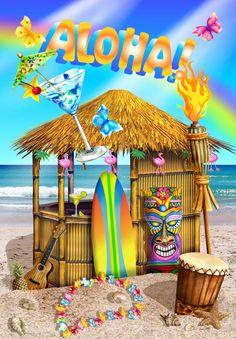 Tropical Art, Tropical Paradise, Summer Wallpaper, Iphone Wallpaper, Luau, Beachy Signs, Tiki Art, Hawaiian Art, Surf Art