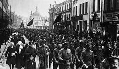 Russians marching against Stalin.