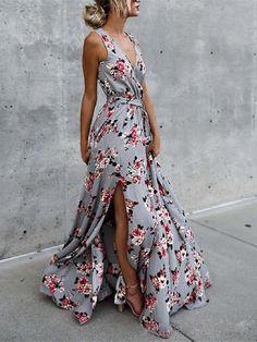 3efaf35b48 Flower V Neck Sleeveless Belted Bohemia Maxi Long Dress