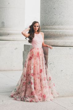 SHERRI HILL Pink Floral Print Ballgown YPSILON DRESSES SHERRI HILL Navy Fitted Fully Beaded Long Dress YPSILON DRESSES Dream Destination Photoshoot Location Paris Travel Prom Pageant Homecoming Evening Gown Formalwear Formal Event