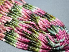 35 CTS 1 STRAND NATURAL MULTI COLOR TOURMAILINE BEADS +CLASP  Watermelon Tourmaline gemstone, dark green and shades of light greens, purples and pinks shades,tourmaline beads,  gemstones beads