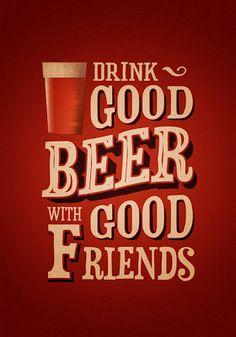 Drink Good Beer With Good Friends - Vintage Poster - Retro Art Print #craftbeer #beer